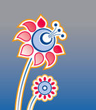 Ornament o elemento em um fundo cinzento, flores Ilustração Stock