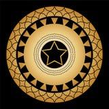 Ornament od okregów i wzorów na czarnym tle z złocistą pięcioramienną gwiazdą w centrum royalty ilustracja