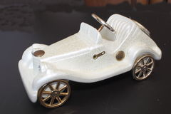 Ornament old white toy car Royalty Free Stock Images