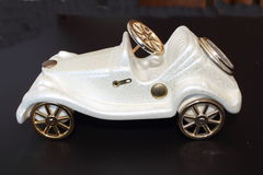 Ornament old white toy car Royalty Free Stock Image