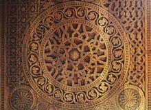 Ornament op houten deur Royalty-vrije Stock Foto