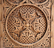 Ornament op houten deur Stock Foto