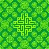 Ornament, orientał, język arabski, Islamski, Zielony Bezszwowy deseniowy tekstury tło, Wektorowy Ramadan Mubarak royalty ilustracja