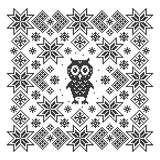 Ornament with owl. Royalty Free Stock Photography