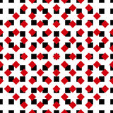 Ornament-pattern-red-black. Vector seamless red white pattern. Vector seamless texture. Modern geometric ornament. Minimal fashion background. Intelligent design Stock Illustration