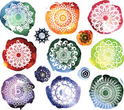 Ornament Pattern on watercolor splatters Stock Images