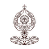 Ornament piękna karta z Wektorowy joga Obrazy Stock