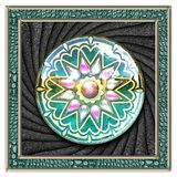 Ornament plastic tile with framed glossy button. Ornament colorful plastic tile with framed glossy button embellishment on textured background royalty free illustration