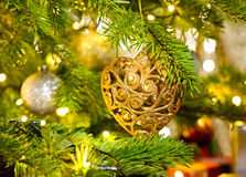 Ornament in a real Christmas tree Royalty Free Stock Image