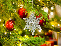 Ornament in a real Christmas tree Royalty Free Stock Images