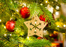 Ornament in a real Christmas tree Royalty Free Stock Photos