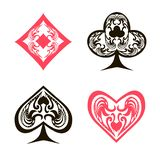 Ornament red and black spades hearts, diamonds, clubs, poker, cards symbols set on white background. Design element stock vector illustration for web, for print stock illustration