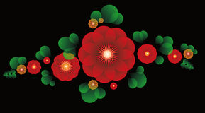 Ornament of red flowers and leaves. Ornament of bright red flowers and leaves on a black background Stock Images