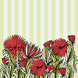 Ornament with red flowers and striped background. Floral ornament with red flowers and green striped background Royalty Free Stock Photography