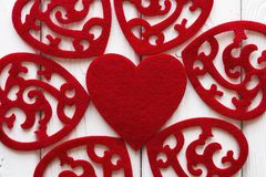Ornament of red hearts Stock Photography