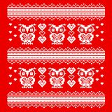 Ornament red owl and heart. wise owls in love. pixel art template Royalty Free Stock Photos