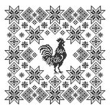 Ornament with rooster. Cross stitch. Royalty Free Stock Photography