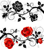 Ornament with roses. Beautiful ornament with red roses