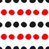 Ornament of round red and black spots on white background. Seamless pattern. Grunge, sketch, graffiti. Royalty Free Stock Image