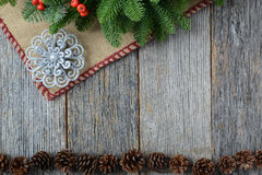 Ornament On Rustic Wood Background for the Holidays Royalty Free Stock Images