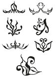 Ornament samples. Black contour, patterns Royalty Free Stock Photo