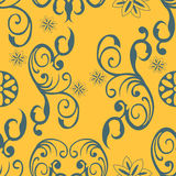 Ornament seamless background. Illustration of an ornament vintage seamless vector on a yellow royalty free illustration
