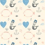 Ornament seamless cute sea objects collection. Royalty Free Stock Photography