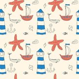 Ornament seamless cute sea objects collection. Stock Image