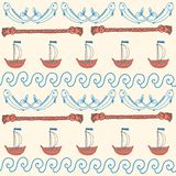 Ornament seamless cute sea objects collection. Royalty Free Stock Photos