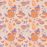 Ornament seamless pattern with tea party objects Stock Photos