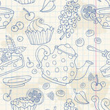 Ornament seamless pattern with tea time objects Stock Photo
