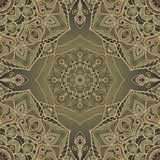 Ornament in shades of green. Vintage oriental ornament of mandalas in shades of green. Template for carpet. Vector seamless ornamental pattern. Stylized rich Royalty Free Stock Photo