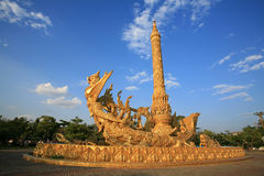 Ornament: side view of golden art sculpture. At Tung Sri Muang park in Ubon Ratchathani province, Thailand Stock Image