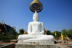Ornament: single huge white buddha statue Royalty Free Stock Images