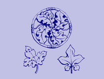 Ornament sketch. Vegetable ornament with three design element Stock Image