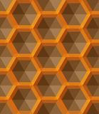 Ornament with small yellow hexagons, hexagonal grid, lattice, repeat tiles royalty free illustration