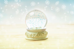 Ornament snow globe. Snow globe with snow flakes, beautiful ornament Royalty Free Stock Photography