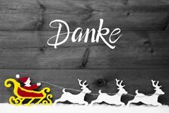 Ornament, Snow, Sleigh, Reindeers, Red Satna, Danke Means Thank You