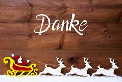 Ornament, Snow, Sleigh, Reindeers, Satna, Danke Means Thank You
