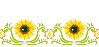 Ornament with  sunflower Royalty Free Stock Images
