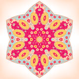 Ornament. Symmetrical floral ornament, six-pointed mandala vector illustration