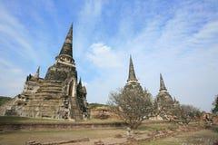 Ornament: Three ancient pagodas against blue sky. At wat Phra Sri Sanphet, Ayutthaya, Thailand Stock Images
