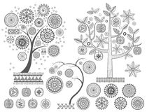 Ornament treesThe leaves and ornamental circles on the tree vector illustration. Aztecs Mayan ancient civilizations Royalty Free Stock Photography