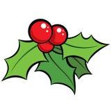 Ornament van de beeldverhaal het rode en groene maretak met zwarte outli Stock Foto's