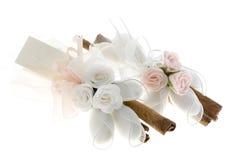 Ornament van rozen en kaneel Royalty-vrije Stock Foto's