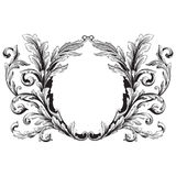 Ornament vector baroque. Vintage baroque frame scroll ornament engraving border floral retro pattern antique style acanthus foliage swirl decorative design Stock Photography
