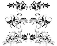 Ornament vector elements. Vector set of vintage color floral designs Royalty Free Stock Photos