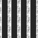 Ornament of vertical damaged lines. Seamless grunge pattern with shabby stripes. Vector illustration. Black, white color Royalty Free Stock Photo