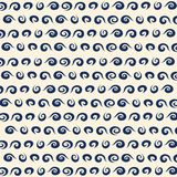 Vector blue wave icons set on light background. Water waves. Ornament of a wave on the surface of the ocean. Curls of the wave. Ornament, clothes, books Royalty Free Stock Photography