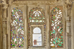 Ornament wood and stained glass window. A Window at Udaipur Palace Royalty Free Stock Photos